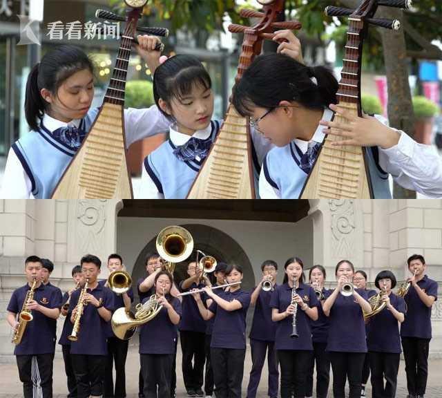 """中西乐器组成的""""临时乐队""""相继加入了演奏阵营"""