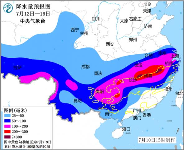降水量预报图(7月12日-16日)