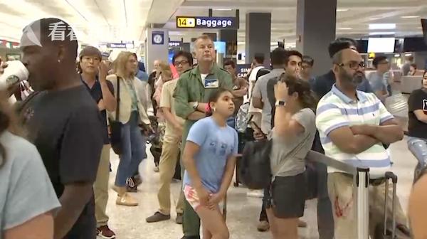 视频|美国多个国际机场海关电脑故障 数千旅客受影响
