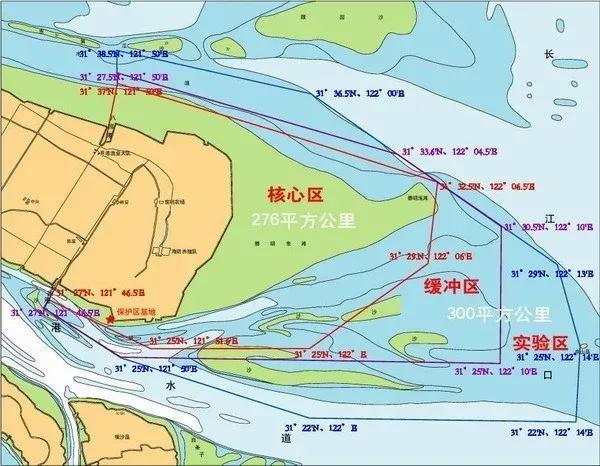 上海长江口中华鲟湿地自然保护区示意图