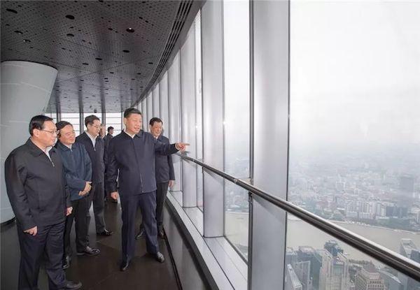 2018年11月,习近平到上海中心大厦考察。
