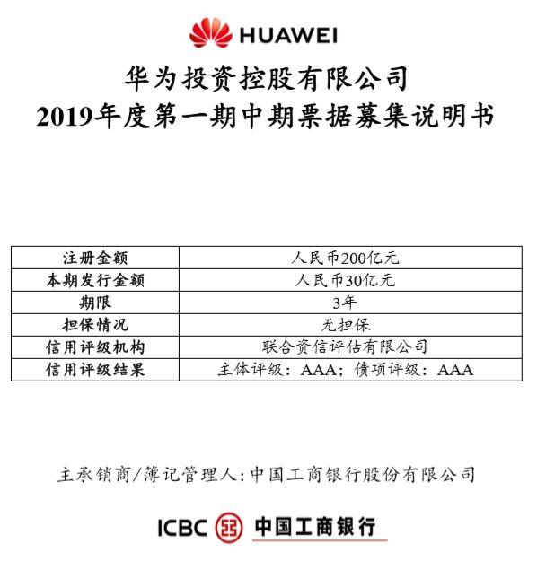 华为投资控股有限公司 2019 年度第一期中期票据募集说明书