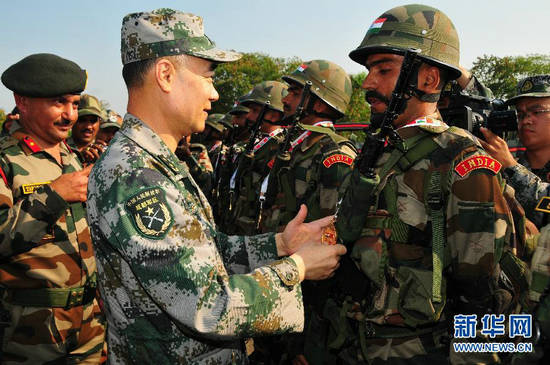 资料图:中印陆军反恐联合训练