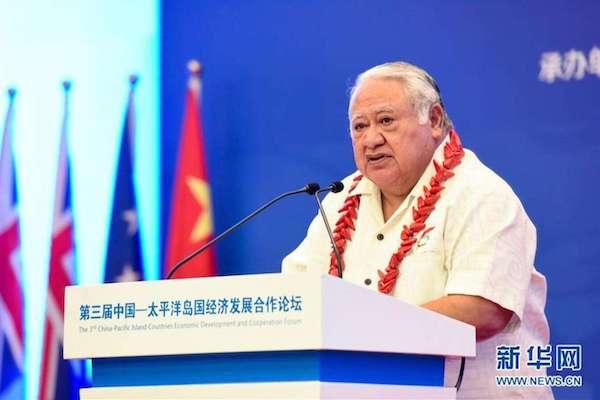 10月21日,在薩摩亞首都阿皮亞,薩摩亞總理圖伊拉埃帕在開幕式上發表講話。 第三屆中國-太平洋島國經濟發展合作論壇21日在薩摩亞首都阿皮亞舉行。 新華社記者 郭磊 攝