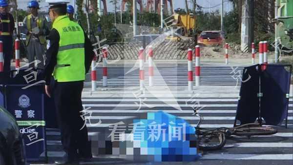 大型车碾压自行车 骑车男子不幸身亡