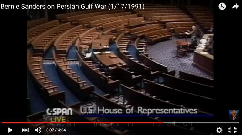 1991年 桑德斯的反战演讲
