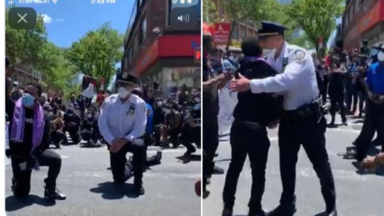 纽约市警察跪地与示威者共同祈祷 州长科莫点赞