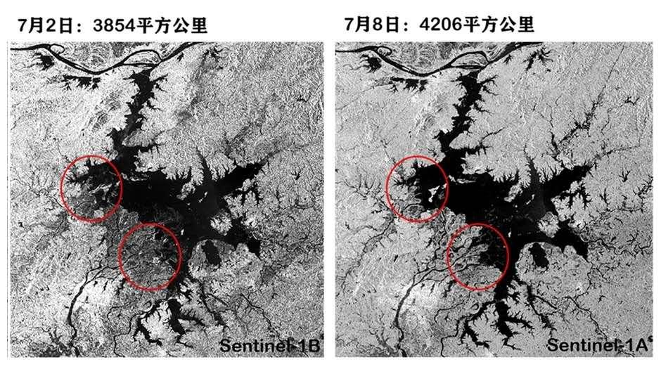 鄱陽湖主體及附近水域面積  圖片來源:國家衛星氣象中心