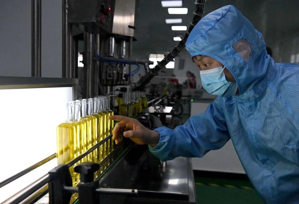 △3月27日,工作人员在河南省光山县一家油茶加工企业的灌装车间作业。