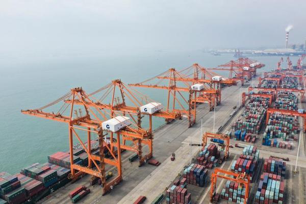 这是中国(广西)自由贸易试验区钦州港片区的集装箱码头(2019年11月23日摄,无人机照片)。新华社记者 曹祎铭 摄