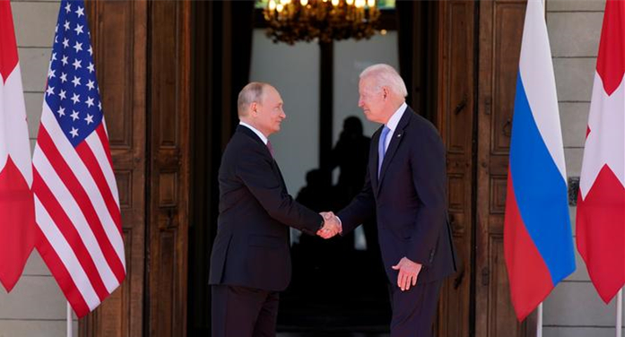 当地时间6月16日 瑞士日内瓦 美国总统拜登和俄罗斯总统普京举行会晤