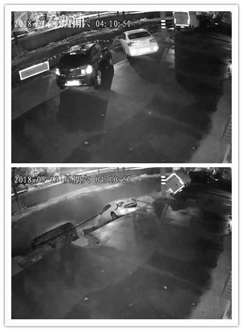 杭州一路面凌晨突然塌陷 监控记录下全过程图片 30318 500x681