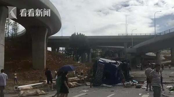 货车翻下高架桥司机身亡 86头二师兄死伤一地